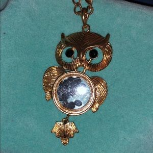 Jewelry - Gold crystal owl stone necklace
